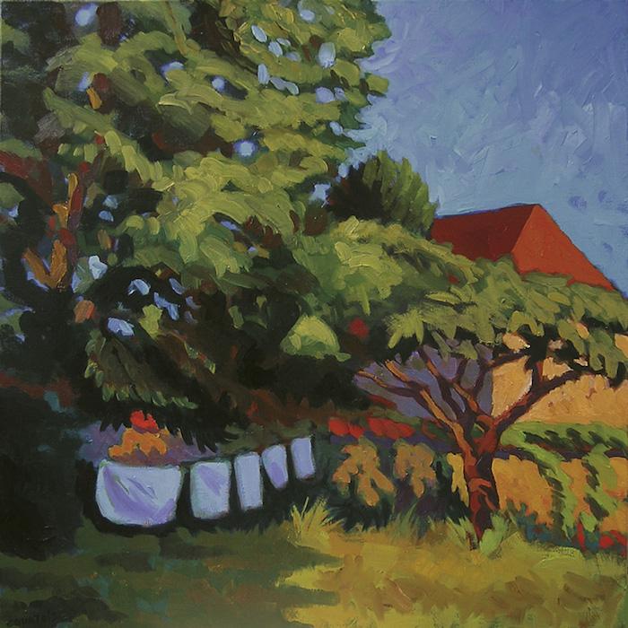 peinture de jardin en été avec du linge qui sèche