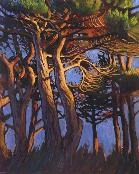 peinture pins le soir fond bleu et lumière