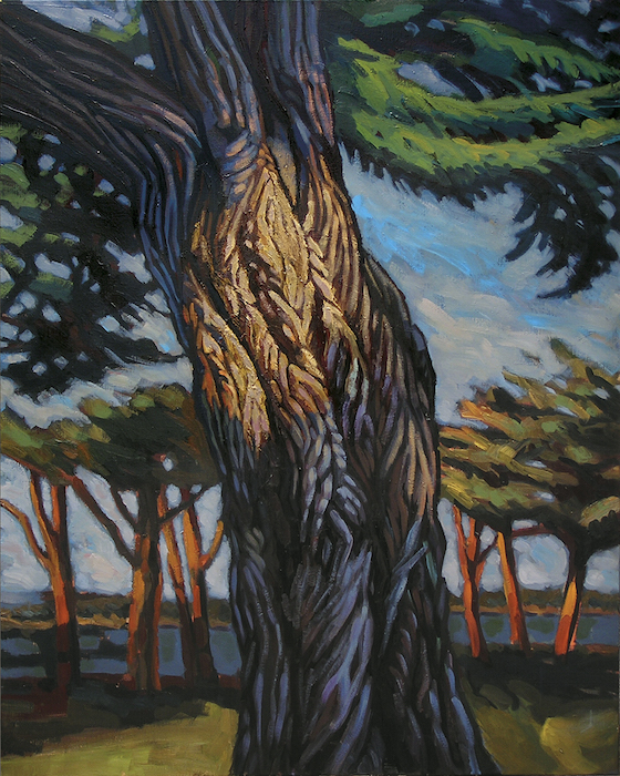 tronc de thuya géant peinture contemporaine
