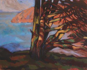 peinture d'arbre devant une baie