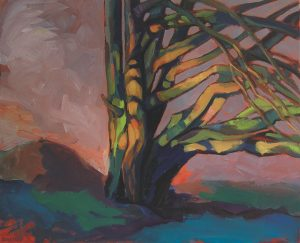 peinture d'un arbre coloré sur fond gris