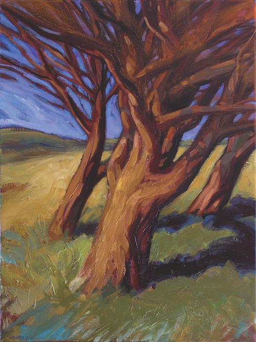 peinture d'arbres dans le vent