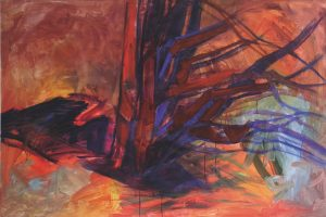 peinture moderne bosquet rouge et bleu